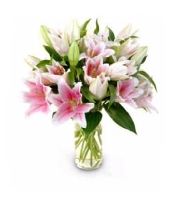 send pink lilies in vase to japan