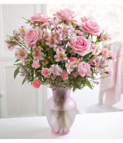 send pink roses and pink flowers and carnations to japan