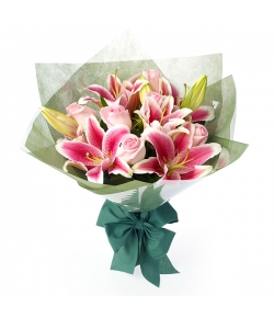 send pink roses and pink lily to japan
