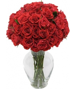 send 36 red roses in glass vase to japan