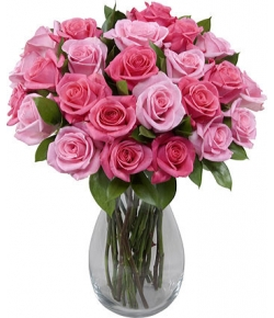 send 24 fresh pink roses in clear glass vase to japan