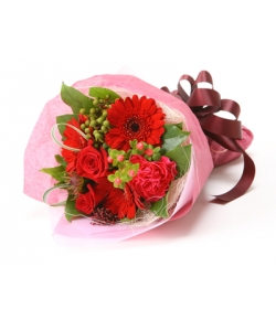 red flowers in bouquet