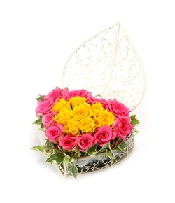 send heart mixed rose arrangement to japan