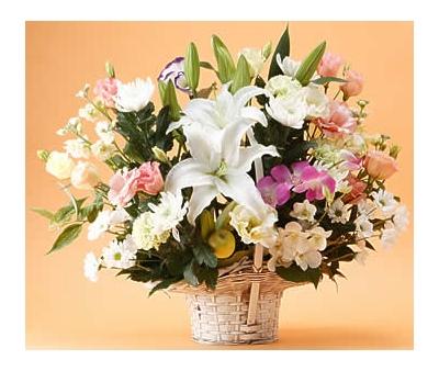 lilies sympathy basket
